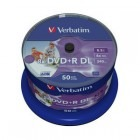 Verbatim DVD+R AZO Double Layer 8x Printable No ID Spindle 50 bucati