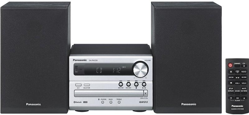 Mini-sistem audio Panasonic SC-PM250EC-S, CD Player, Tuner FM, Bluetooth, USB, 20W, Negru/Argintiu