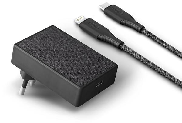 Incarcator retea GSM Uniq Votre Slim UNIQ-VOTRESLBUN, 1x USB-C, 18W, Black + cablu USB-C
