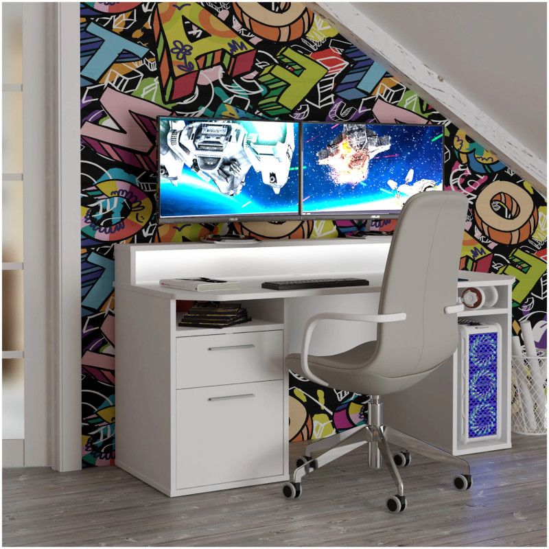 Birou Gaming Kring Gaming , 160x91x72 cm, White, 2 sertare, include LED