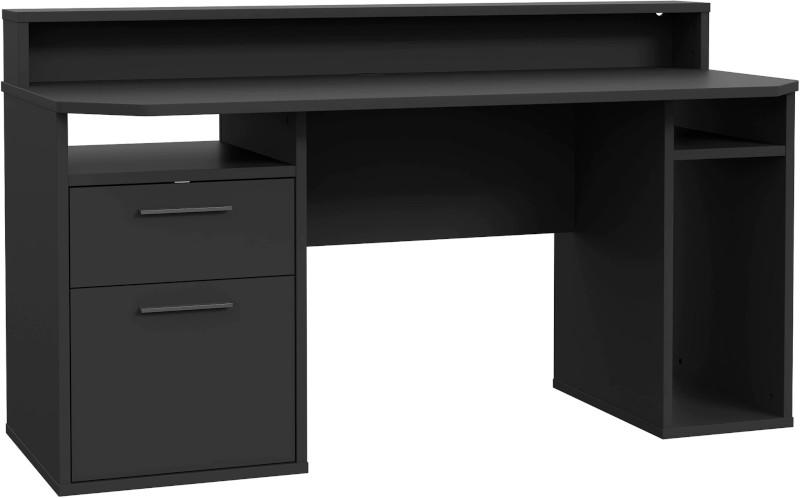 Birou Gaming Kring Gaming , 160x91x72 cm, Black, 2 sertare, include LED