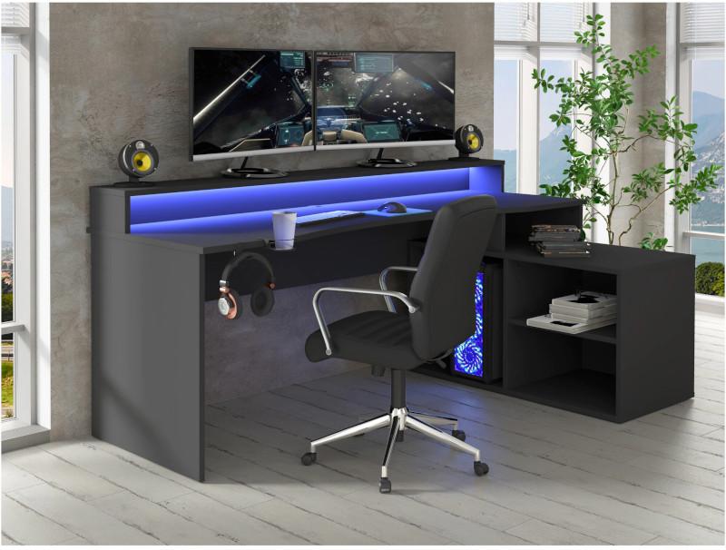 Birou Gaming Kring Gaming , 200x91x125 cm, Black, include LED