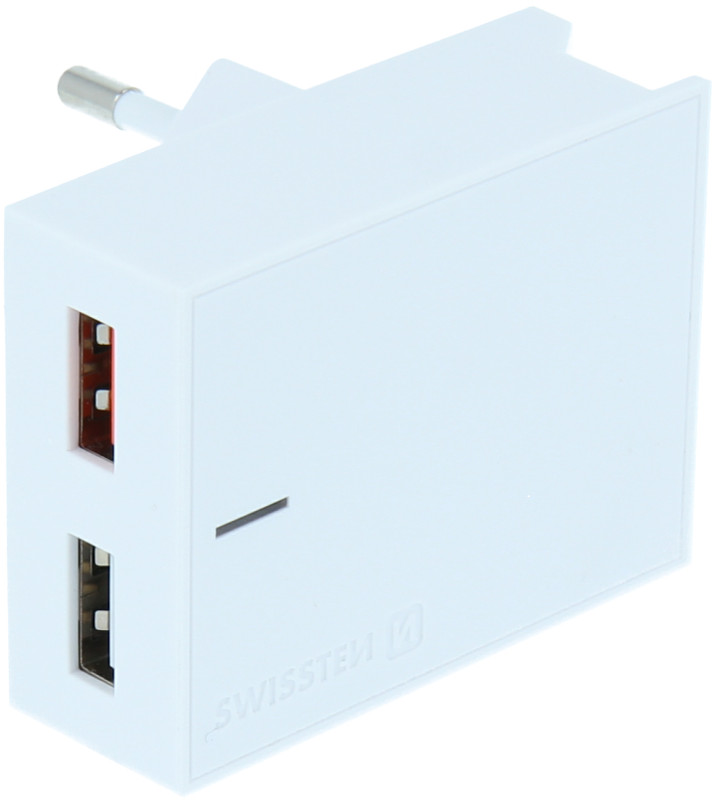 Incarcator retea GSM Swissten Slim, 2x USB, 23W, White cu tehnologia Quick Charge 3.0