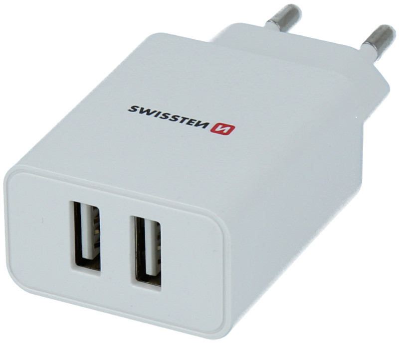 Incarcator retea GSM Swissten Slim, 2x USB, 2.1A, White cu tehnologia Smart IC