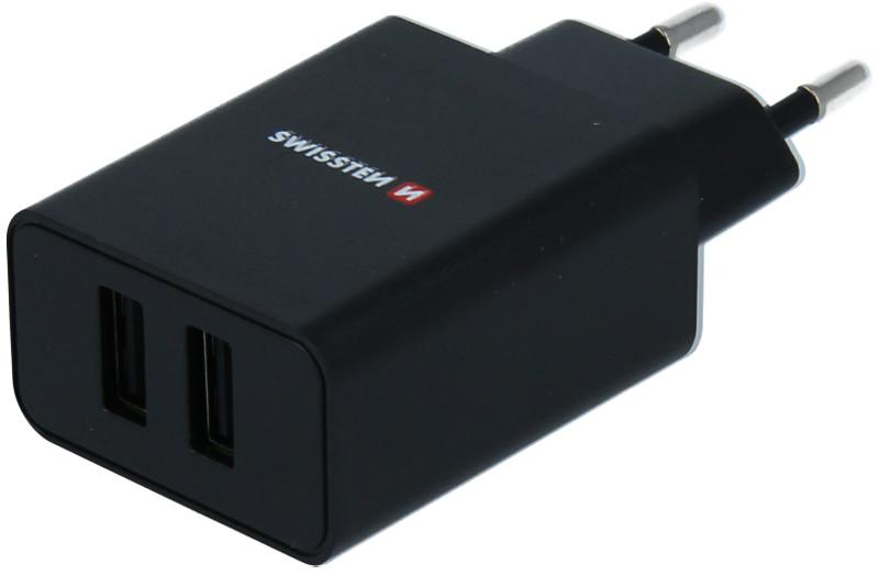 Incarcator retea GSM Swissten Slim, 2x USB, 2.1A, Black cu tehnologia Smart IC + cablu Lightning